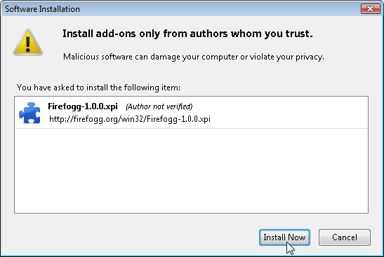Firefox Software Installation window
