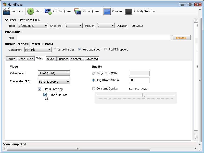 HandBrake: set two-pass encoding option