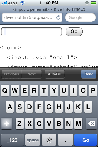 iPhone rendering input type=email field